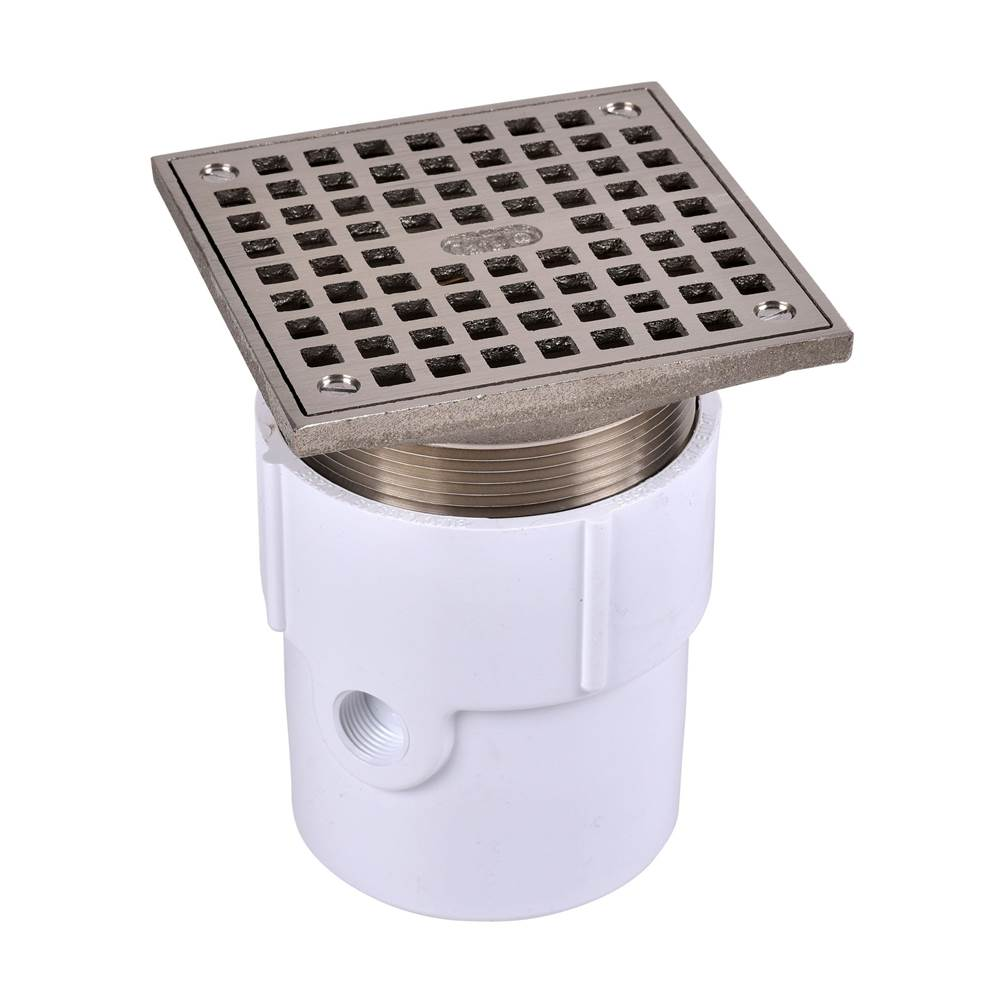 Oatey 72097 PVC General Purpose Drain with 5-Inch CHR Grate and Round Ring 3-Inch or 4-Inch