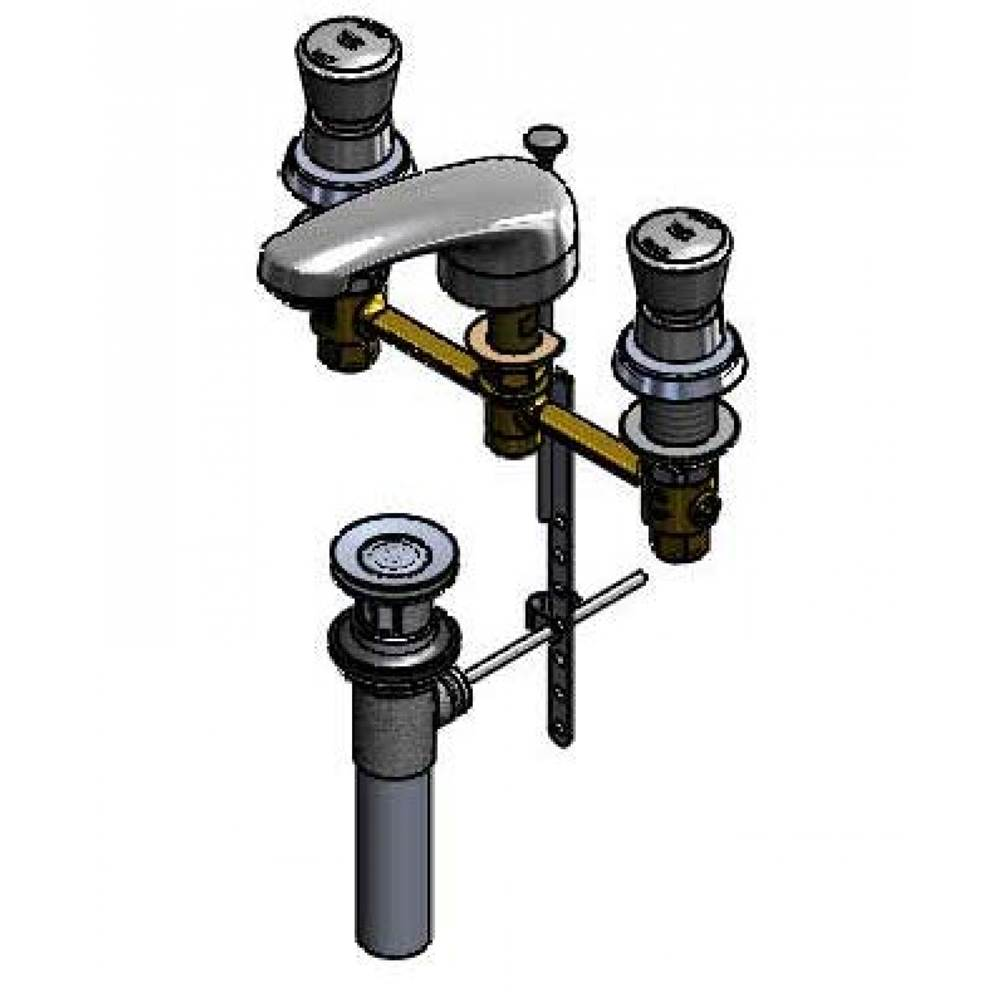 12-Inch Centers Concealed Body Lever Handles T/&S Brass B-2990-L Lavatory Faucet Cast Basin Spout